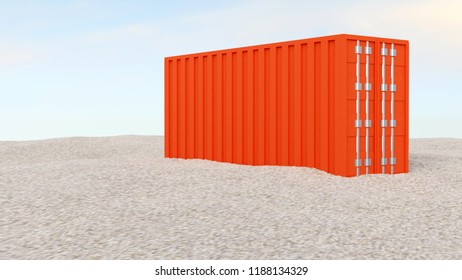 3D rendering of red sea freight container on gravel ground