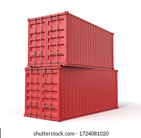 3d rendering of red shipping containers stocked isolated on white background. Digital art. Objects and materials. Transportation and delivery.