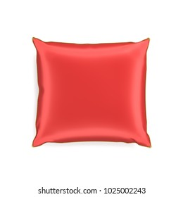 3d rendering of a red silk decorative pillow with golden tussels in top view on a white background. Throw pillow. Home design. Decorative textile.
