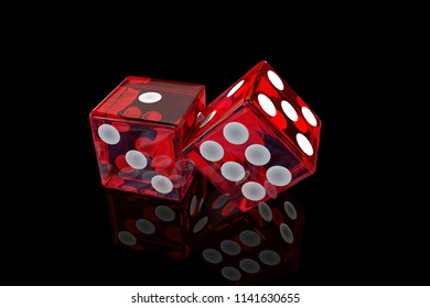 3d rendering of red transparent dice on black background