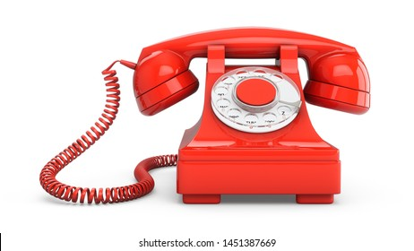 3D rendering red vintage phone isolated on white background