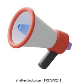 3d rendering red, white, blue, and black megaphone logo sign symbol, stock illustration clip art design element isolated on white background
