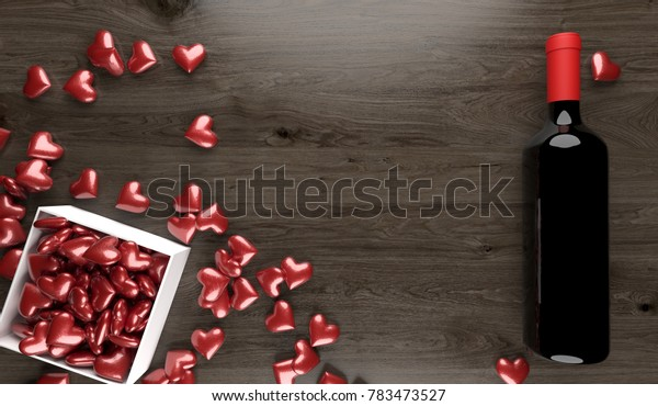 3D Rendering  Of Red Wine Bottle With Opened Gift Box Full Of Red Hearts On Wood Surface St.Valentine's Day