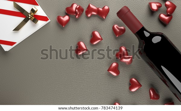 3D Rendering  Of Red Wine Bottle With Opened Gift Box Full Of Red Hearts On Leather Surface St.Valentine's Day