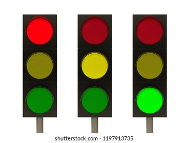 3d rendering. red, yellow and green traffic light signal set with clipping path isolated on white background.