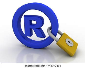 3d rendering Registered Trademark concept with padlock