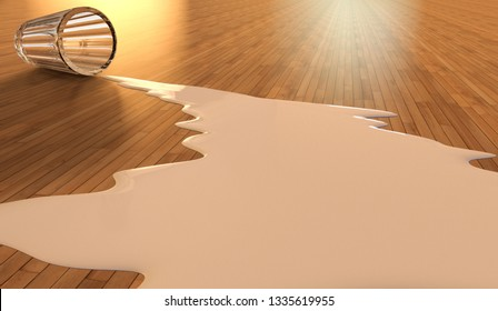 3D rendering representing the concept of crying over spilt milk