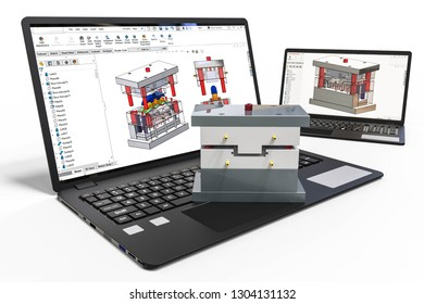 3D rendering representing an plastic injection mold development with the help of the 3d software and computer