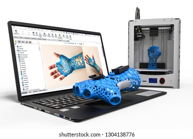 3D rendering representing a 3D printed product with the help of the 3D software, 3D printer and laptop