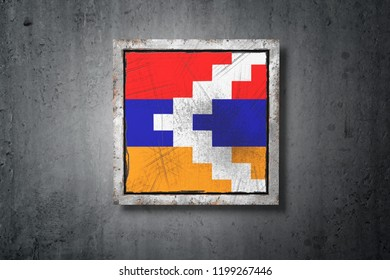 3d rendering of a Republic of Artsakh flag in a concrete wall