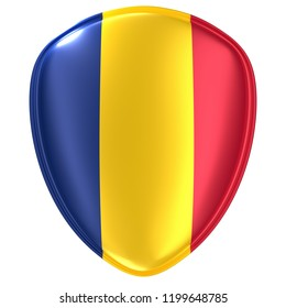 3d rendering of a Republic of Chad flag icon on white background.