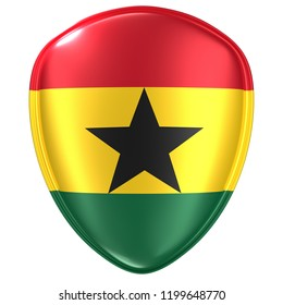 3d rendering of a Republic of Ghana flag icon on white background.