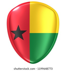 3d rendering of a Republic of Guinea-Bissau flag icon on white background.