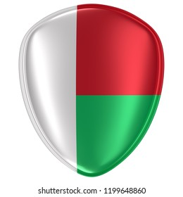 3d rendering of a Republic of Madagascar flag icon on white background.