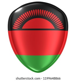 3d rendering of a Republic of Malawi flag icon on white background.
