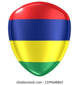 3d rendering of a Republic of Mauritius flag icon on white background.