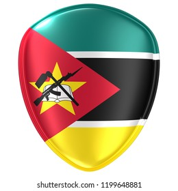 3d rendering of a Republic of Mozambique flag icon on white background.