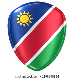 3d rendering of a Republic of Namibia flag icon on white background.