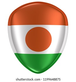 3d rendering of a Republic of Niger flag icon on white background.