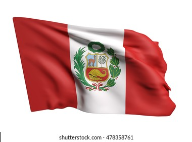 3d rendering of Republic of Peru flag waving on white background