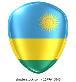3d rendering of a Republic of Rwanda flag icon on white background.