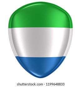3d rendering of a Republic of Sierra Leone flag icon on white background.