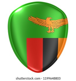 3d rendering of a Republic of Zambia flag icon on white background.