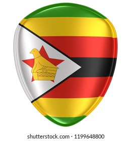 3d rendering of a Republic of Zimbabwe flag icon on white background.