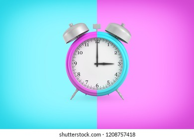 3d rendering of retro alarm clock with bells and a large face hangs on a background in double blue and purple colors. Mismatched schedule. Modern times. Wake in time.