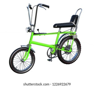 3d rendering retro chopper bicycle with leather saddle isolated
