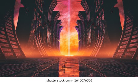 3D rendering of retro synth wave style abstract fractal environment background with science fiction structures