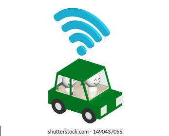 A 3D rendering of a ride-hailing cartoon  car on white background