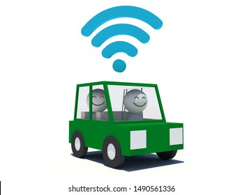 A 3D rendering of a ride-hailing service with car, driver and passenger on white background