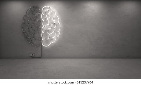 3d rendering of right brain neon on concrete wall