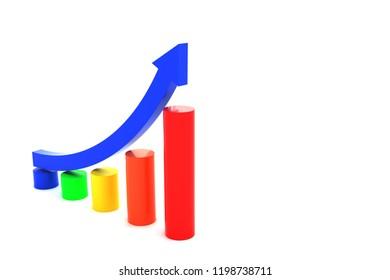 3d rendering of rising curve