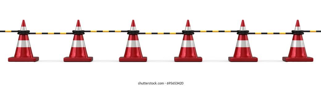 3d rendering of road closure