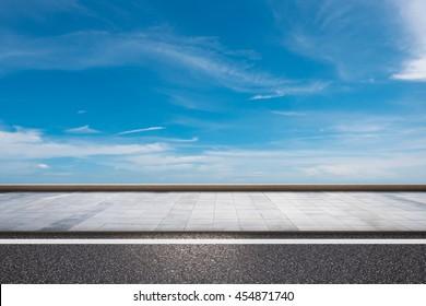 3d rendering roadside with blue sky background