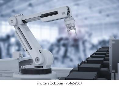 3d rendering robot arm working in factory