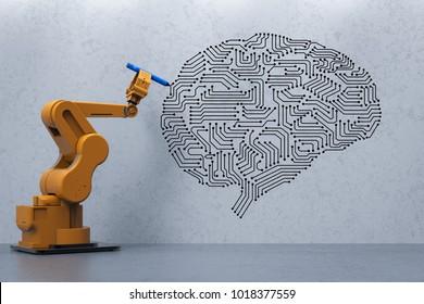 3d rendering robot arm writing ai brain