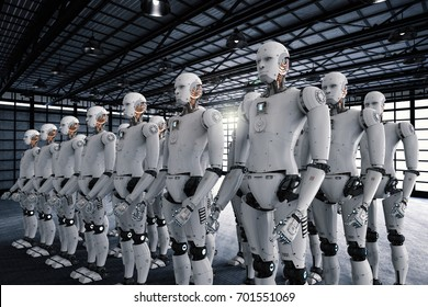 3d rendering robot army or group of cyborgs in factory