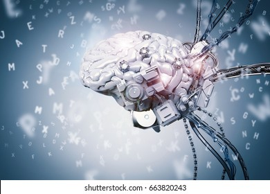 3d rendering robot brain learning on blue background