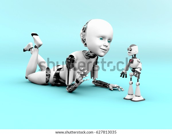 Representación en 3D de un niño robot que se encuentra en el suelo y juega con un robot de juguete. Fondo azul.