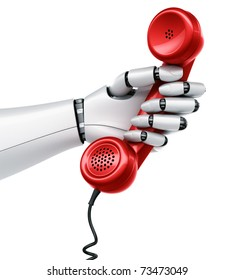 3d rendering of a robot hand holding a red telephone