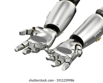 3d rendering robot hand open or extend isolated on white background