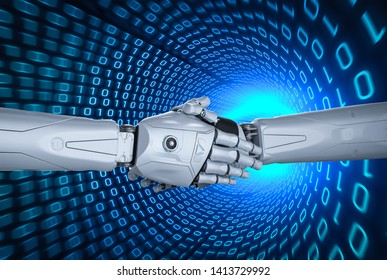 3d rendering robot hand shaking with binary tunnel background