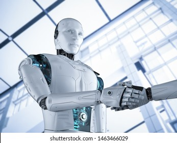 3d rendering robot hand shaking in office
