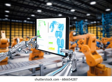 3d rendering robot hand working with digital tablet in factory