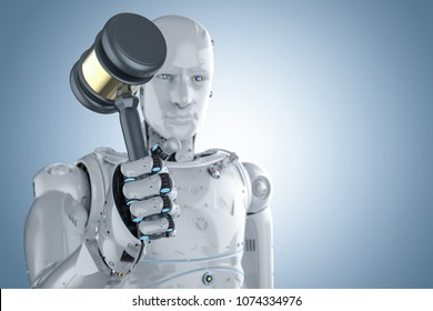 3d rendering robot holding gavel judge on blue background