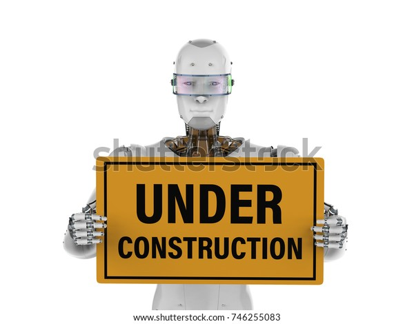 3d rendering robot holding under construction sign