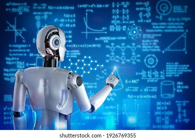 3d rendering robot learning or machine learning with education graphic interface